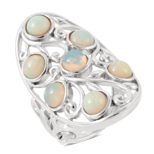 Ethiopian Welo Opal (Rnd) 7 Stone Ring in Rhodium Plated Sterling Silver 2.100 Ct.