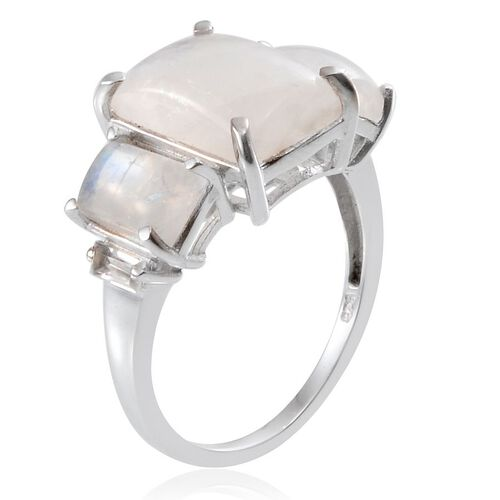 Ceylon Rainbow Moonstone (Bgt 5.75 Ct), White Topaz Ring in Platinum Overlay Sterling Silver 9.000 Ct.