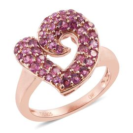 GP Rhodolite Garnet (Rnd), Kanchanaburi Blue Sapphire Heart Ring in Rose Gold Overlay Sterling Silver 2.000 Ct.