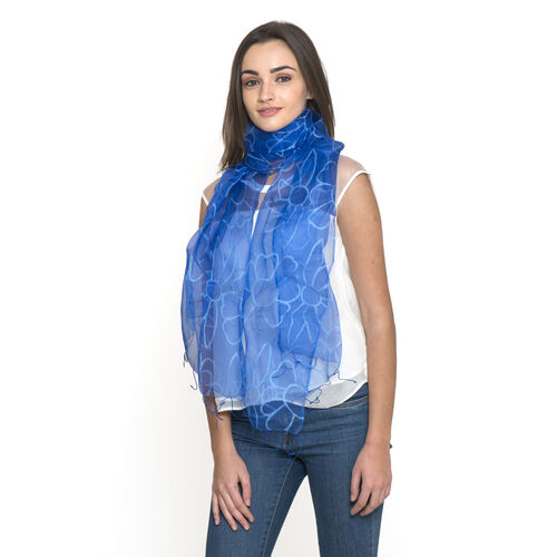 100% Mulberry Silk Blue Colour Floral Pattern Scarf (Size 180x50 Cm)