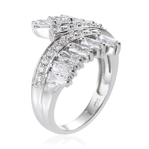 J Francis - Platinum Overlay Sterling Silver (Bgt) Crossover Ring Made with SWAROVSKI ZIRCONIA 1.620 Ct.