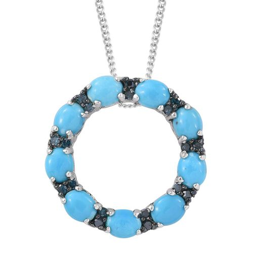 Arizona Sleeping Beauty Turquoise (Ovl), Blue Diamond Circle of Life Pendant with Chain in Platinum Overlay Sterling Silver 3.250 Ct.