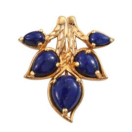 Lapis Lazuli (Pear 2.35 Ct) Leaves Pendant in 14K Gold Overlay Sterling Silver 4.500 Ct.