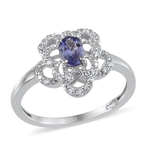 Tanzanite (Ovl 0.50 Ct), White Topaz Ring in Platinum Overlay Sterling Silver 0.650 Ct.
