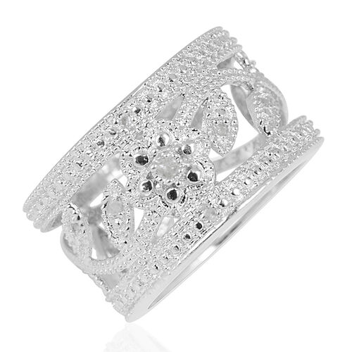 Diamond (Rnd) Floral and Leaves Band Ring in Platinum Bond