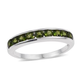 Russian Diopside (Rnd) Half Eternity Band Ring in Platinum Overlay Sterling Silver 1.000 Ct.