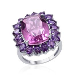 Kunzite Colour Quartz (Cush 9.75 Ct), Amethyst and Diamond Ring in Platinum Overlay Sterling Silver 12.010 Ct.