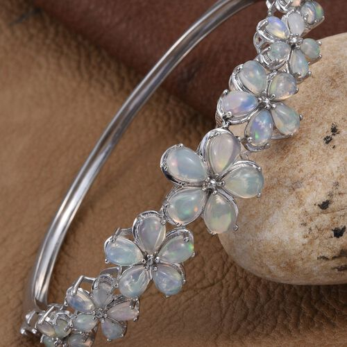 Ethiopian Welo Opal (Pear) Floral Bangle (Size 7.5) in Platinum Overlay Sterling Silver 6.500 Ct.