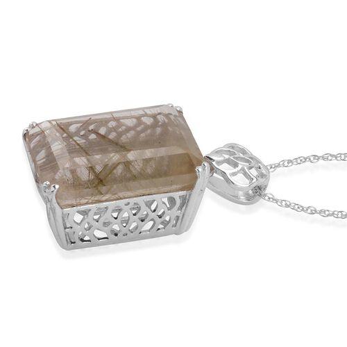 Collection Rutile Quartz Pendant With Chain in Platinum Bond