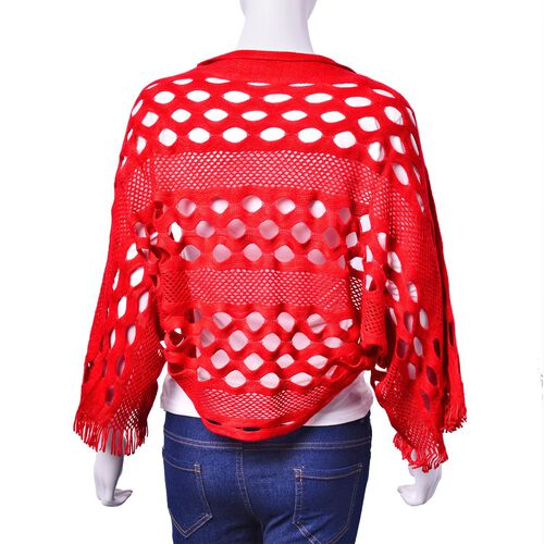 Red Colour Poncho (Size 140x25 Cm)