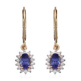 ILIANA 18K Y Gold AAA Tanzanite (Ovl), Diamond Lever Back Earrings 1.150 Ct.