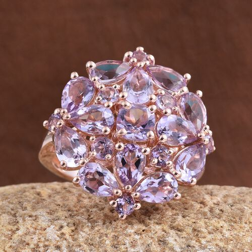 Rose De France Amethyst (Cush 0.50 Ct) Cluster Ring in Rose Gold Overlay Sterling Silver 5.750 Ct.