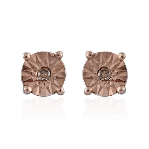 OneTime Deal-  Natural Champagne Diamond (Rnd) Stud Earrings (with Push Back) in Platinum Overlay Sterling Silver