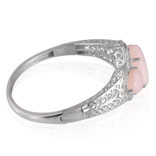 Peruvian Pink Opal (Ovl 11.75 Ct) Bangle (Size 7.5) in Platinum Overlay Sterling Silver 18.750 Ct.