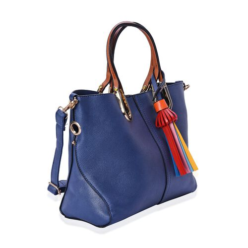 Set of 2 - Blue Colour Large and Small Tote Bag with Adjustable and Removable Shoulder Strap (Size 36.5x25x13 Cm,  26x19x10 Cm)