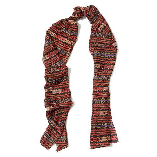 100% Silk Red and Multi Colour Abstract Tribal Print Scarf (Size 50x180 Cm)