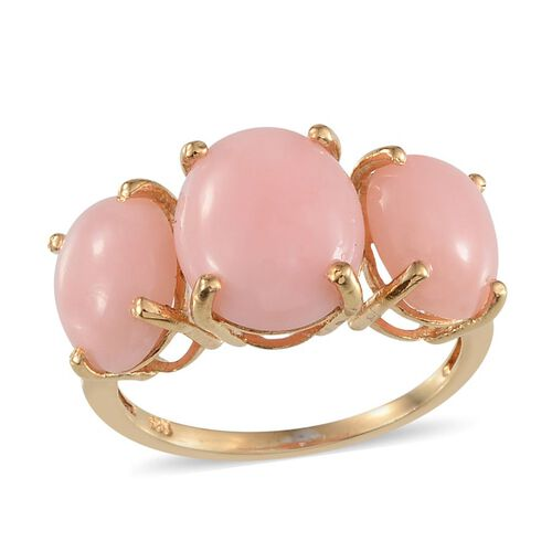 Peruvian Pink Opal (Ovl 4.25 Ct) 3 Stone Ring in Yellow Gold Overlay Sterling Silver 8.250 Ct.