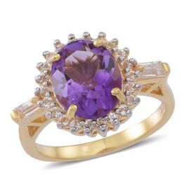 Amethyst (Ovl 3.25 Ct), White Topaz Ring in Yellow Gold Overlay Sterling Silver 4.000 Ct.