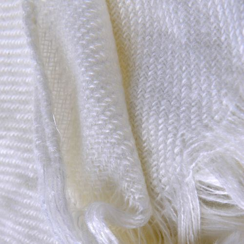 Cream Colour Throw-Shawl with Pom Pom (Size 160x130 Cm)