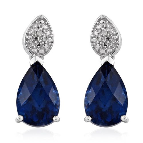 Checkerboard Cut Ceylon Colour Quartz (Pear), Diamond Earrings (with Push Back) in Platinum Overlay Sterling Silver 7.510 Ct.