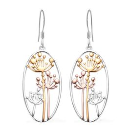 Platinum, Yellow and Rose Gold Overlay Sterling Silver Hook Earrings, Silver wt 5.80 Gms.