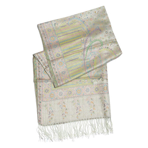 Silk Mark - 100% Super Fine Silk Nile, Green, Pink and Multi Colour Floral Pattern Silver Colour Jacquard Jamawar Scarf with Fringes (Size 180x70 Cm) (Weight 125 - 140 Gms)