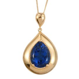 Ceylon Colour Quartz (Pear) Solitaire Pendant With Chain in 14K Gold Overlay Sterling Silver 9.000 Ct.