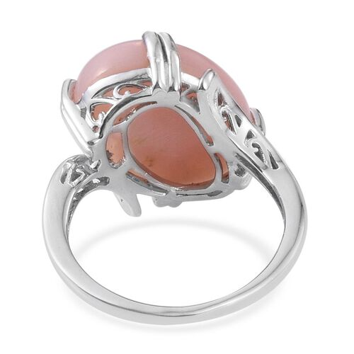 Peruvian Pink Opal (Ovl) Ring in Platinum Overlay Sterling Silver 14.000 Ct.
