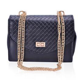 Black Colour Diamond Pattern Handbag with Chain Strap (Size 22x15x9.5 Cm)