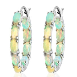 Ethiopian Welo Opal (Ovl) Hoop Earrings (with Clasp) in Rhodium Plated Sterling Silver 7.000Ct.