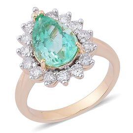 ILIANA 18K Y Gold Boyaca Colombian Emerald (Pear 1.00 Ct), Diamond Ring 1.250 Ct.