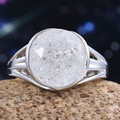 Diamond Crackled Quartz (Rnd) Solitaire Ring in Platinum Overlay Sterling Silver 6.000 Ct.