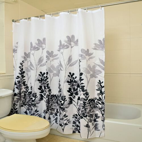 Grey and Black Colour Lavender Pattern Water - Proof Shower Curtain with 12 Hooks (Size 180x180 Cm)