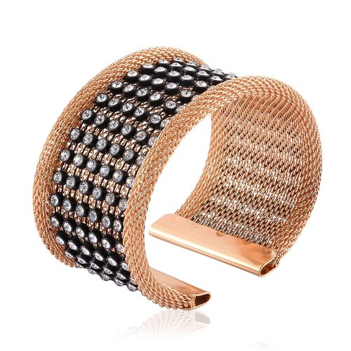 White Austrian Crystal Studded Mesh Cuff Bangle (Size 7.5) in Gold Tone