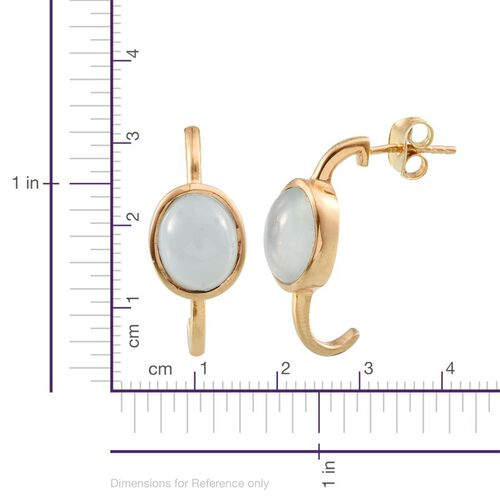 Espirito Santo Aquamarine (Ovl) Earrings (with Push Back) in 14K Gold Overlay Sterling Silver 4.000 Ct.