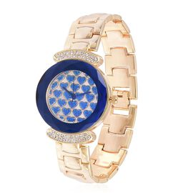 GENOA Japanese Movement Blue Colour Heart Shape Stardust Dial with White Austrian Crystal Water Resistant Watch in Gold Tone with Stainless Steel Back and Chain Strap