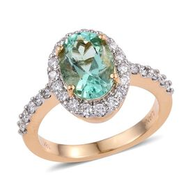 ILIANA 18K Yellow Gold Boyaca Colombian Emerald (Ovl 2.75 Ct), Diamond (SI G-H) Engagement Ring 3.500 Ct.
