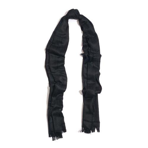 100% Fine Cashmere Wool Black Colour Shawl (Size 200x70 Cm)