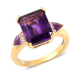 Amethyst (Oct 4.75 Ct), White Zircon Ring in Yellow Gold Overlay Sterling Silver 4.900 Ct.