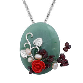 Fresh Water Pearl, Green Aventurine and Indian Garnet and Resin Brooch or Pendant in Silver Tone with Stainless Steel Chain