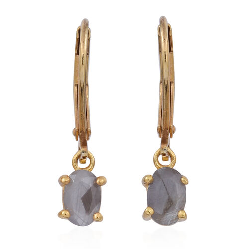 Natural Silver Sapphire (Ovl) Lever Back Earrings in 14K Gold Overlay Sterling Silver 1.500 Ct.