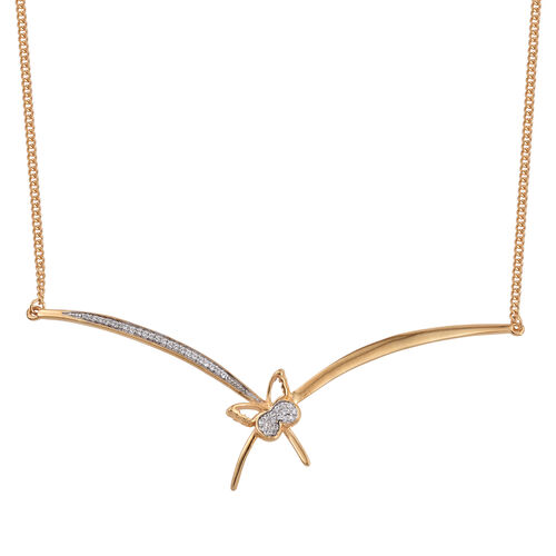 Kimberley Butterfly Collection - Natural Cambodian Zircon (Rnd) Butterfly Necklace (Size 18) 14K Gold Overlay Sterling Silver