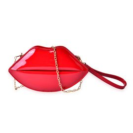 Red Colour Lip Design Crossbody Bag with Chain Strap (Size 24.5x13.5x7 Cm)