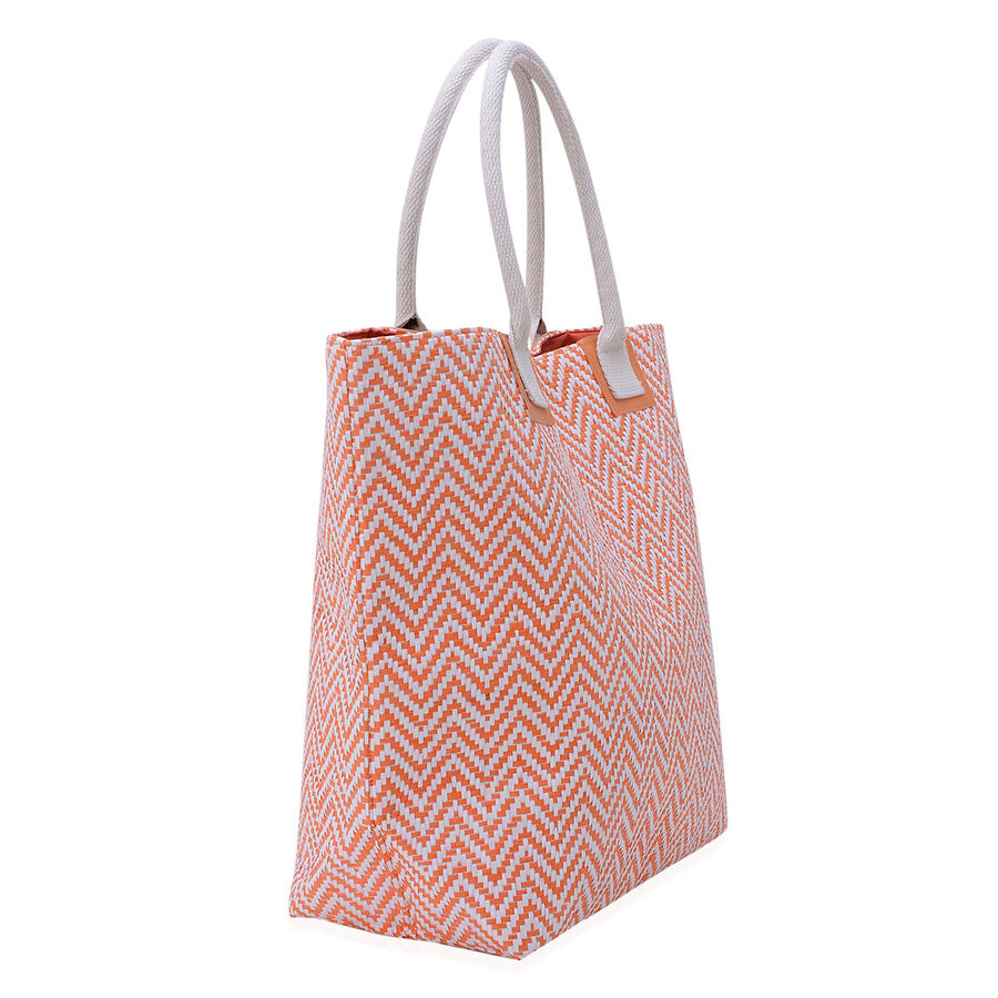 orange and white zigzag pattern tote bag size 50x38x17 cm 2168158 tjc. Black Bedroom Furniture Sets. Home Design Ideas