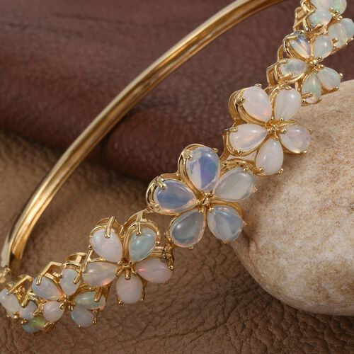 Ethiopian Opal (Pear) Floral Bangle (Size 7.5) in 14K Gold Overlay Sterling Silver 6.500 Ct.