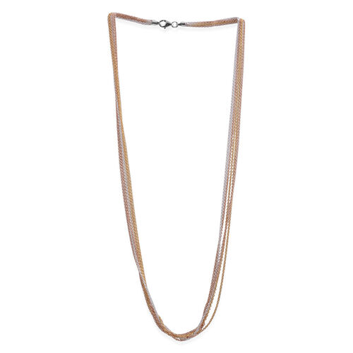 Close Out Deal Rose, White and Yellow Gold Overlay Sterling Silver Multi Strand Round Link Chain (Size 20), Silver wt 10.10 Gms.