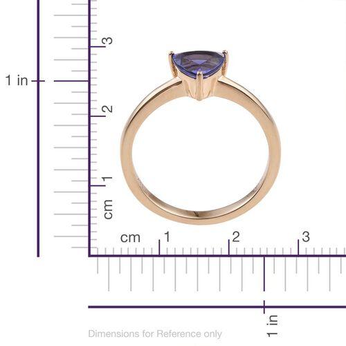ILIANA 18K Yellow Gold 1.15 Carat AAA Tanzanite Trillion Solitaire Ring.