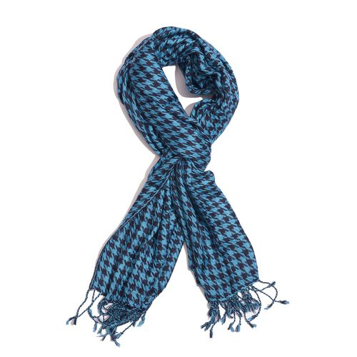 Houndstooth Pattern Blue and Black Colour Scarf (Size 180x70 Cm)