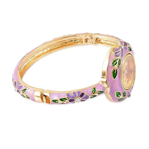 STRADA Japanese Movement White Austrian Crystal Purple Enameled Floral Bangle Watch in Gold Tone