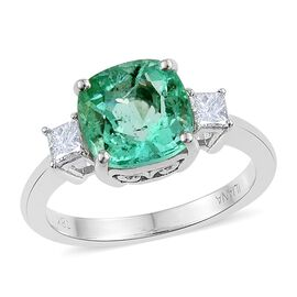 ILIANA 18K W Gold Boyaca Colombian Emerald (Cush 3.00 Ct), Diamond (SI/G-H) Ring 3.350 Ct.